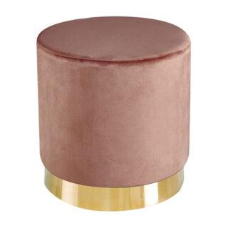 Leela Small Gold Base Pouffe, Vintage Pink Velvet
