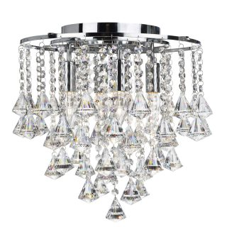 Claudius Chrome 4 Light Chandelier With Cascading Crystal Drops