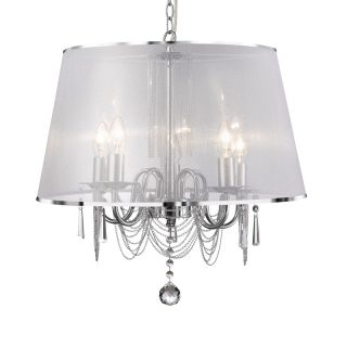 Renee 5 Light Chandelier with White Voile Shade