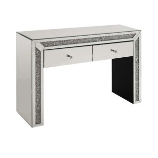 Crushed Diamond Console Table with 2 Drawers
