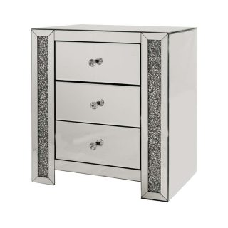 Crushed Diamond Bedside Table with 3 Drawers