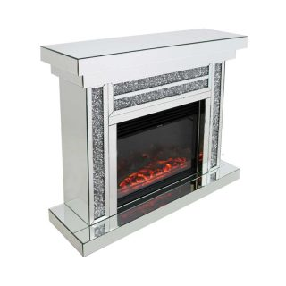 Crushed Diamond Fireplace with Remote Controlled Electric Fire