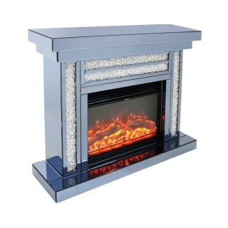 Crushed Diamond Fireplace with Remote Controlled Electric Fire, Smoked Glass