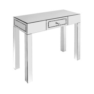 Mirrored Console Table with Crushed Diamond Trim