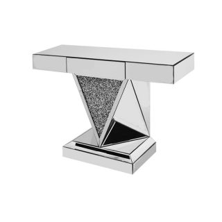 V Shaped Crushed Diamond Console Table with Drawer