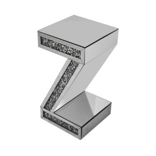 Z Shaped Crushed Diamond Side Table