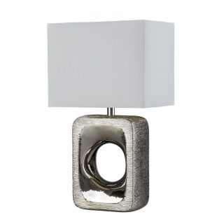 Mica Etched Silver Table Lamp