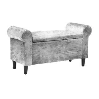 Emma Winged Storage Bench, Silver Crushed Velvet