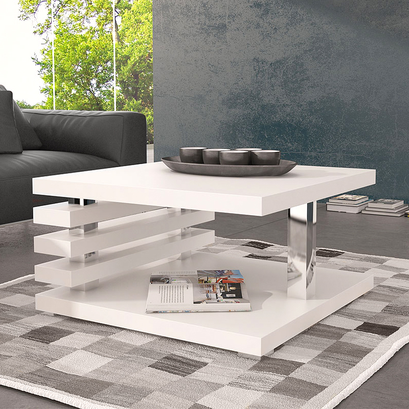 Klein Square Coffee Table White Gloss Home Store Living