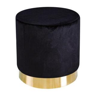 Leela Small Gold Base Pouffe, Black Velvet