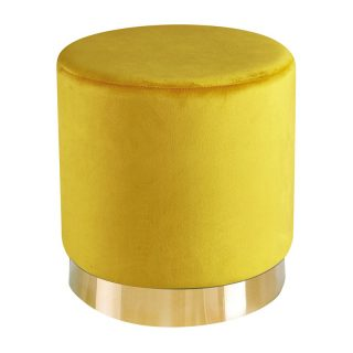 Leela Small Gold Base Pouffe, Yellow Ochre Velvet