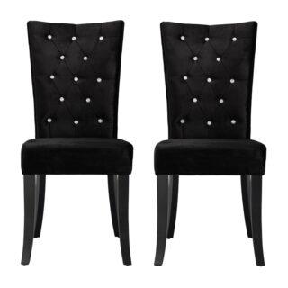 Ricci Set of 2 Dining Chairs, Black Velvet