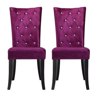 Ricci Set of 2 Dining Chairs, Purple Velvet