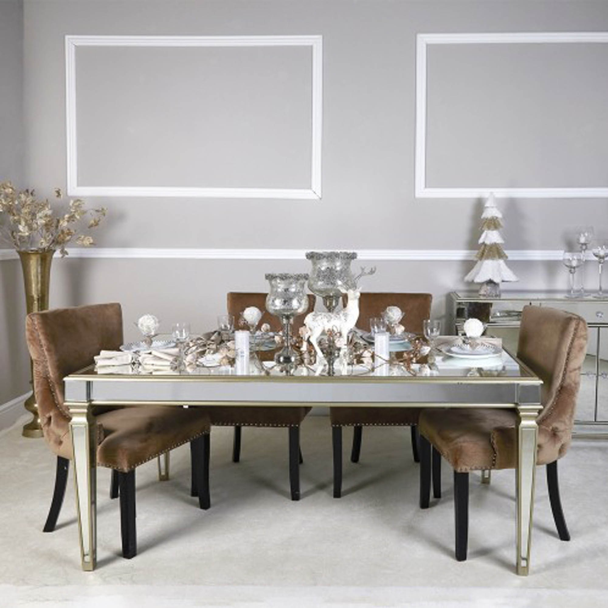 Polo Champagne Mirror Dining Table Home Store Living