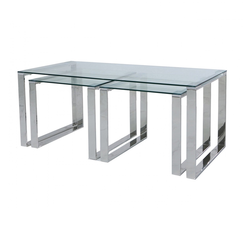 Harvey Steel Glass Coffee End Tables Set Home Store Living