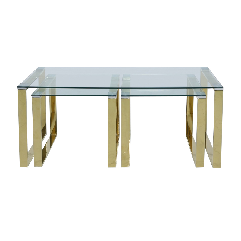 Harvey Gold Glass Coffee End Tables Set Home Store Living