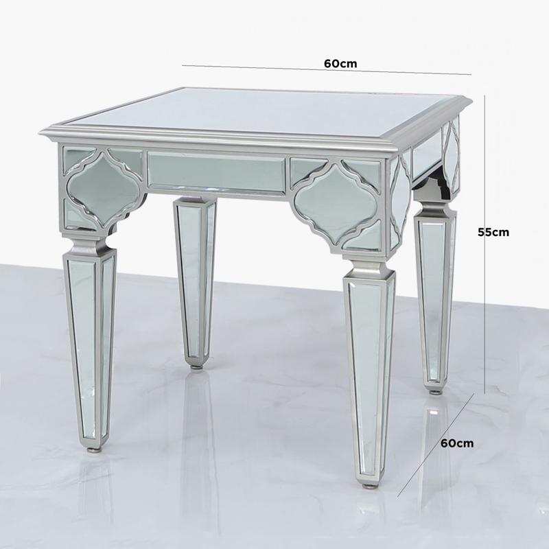 Morocco Silver Mirror End Table Home, Silver Mirror End Table