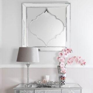 Morocco Silver Square Wall Mirror