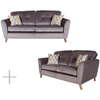Mila Grey Velvet 3+2 Seater Sofa Set
