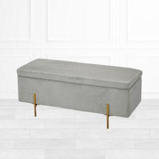 Jodie Grey Velvet Ottoman Storage Bench
