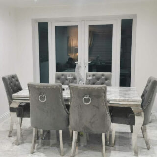 Louis 160cm Grey Marble Dining Set with Knightley Velvet Knocker Chairs