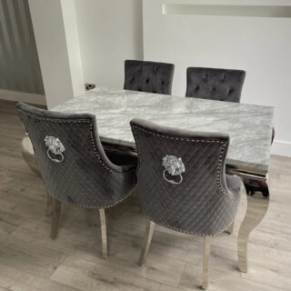 Louis 160cm Grey Marble Dining Set with Majesty Velvet Lion Knocker Chairs