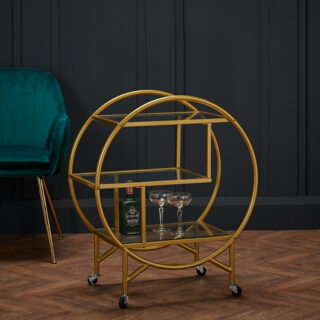 Ruby Round Gold Drinks Trolley